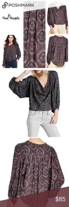Free People Blouse 🍭 Multi wear 🍬 Cowl neck 🍭 Off Shoulder 🍬 Pleated back yoke 🍭 100% Polyester 🍬 3/4 length sleeves 🍭 New With Retail Tags Bundle and Save using Bundle Feature 💕 Free People Tops