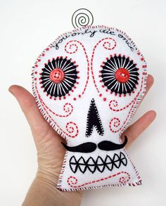 Sugar Skull Plush Pillow, Mexican folk art, felt and wire, black and white hand…