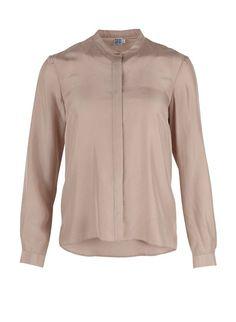 Silke skjorte med knaplukning - pudderrosa str. 40/L
