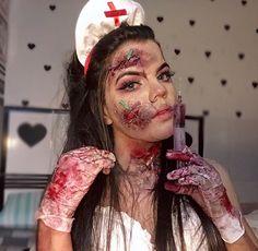 Doctor Halloween, Scary Halloween Costumes, Halloween Makeup Looks, Halloween Make Up, Halloween Party, Horror Makeup, Scary Makeup, Sfx Makeup, Zombie Nurse Costume
