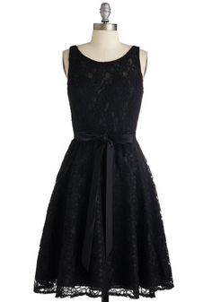 Simply Divine Dress in Noir - Mid-length, Lace, Black, Solid, Belted, Prom, Wedding, Party, Bridesmaid, Homecoming, LBD, Sleeveless, Better, Variation, Lace, Fit & Flare
