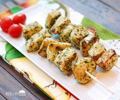 Pesto chicken kabobs - an easy, tasty summertime entree.