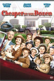 Cheaper by the Dozen (1950) - Clifton Webb and Myrna Loy.  Remake years later with Steve Martin