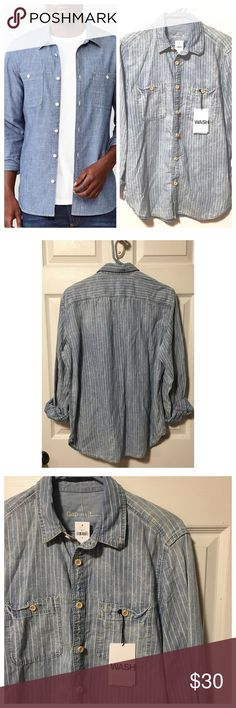 Gap Men's Chambray Work Shirt Button Down Long sleeves. Blue and white striped chambray button down from GAP. New with tag. GAP Shirts Casual Button Down Shirts