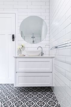 Fienza, modern vintage vanity installed by Northern Rivers Bathroom Renovations in Lismore NSW White modern traditional farmhouse bathroom. white subway tiles, laid brick bond with grey grout. Black and White patterned floor tile. Grey Grout Bathroom, White Tiles Grey Grout, Brick Tiles Bathroom, Large White Tiles, White Brick Tiles, White Subway Tiles, White Vanity Bathroom, Bathroom Tile Designs, Wall Tiles