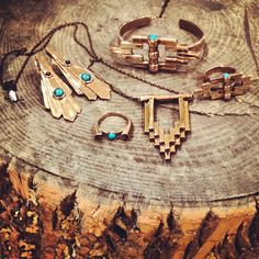 Bronze and Turquoise pieces from the AW12 collection.