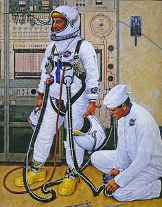 1965 - astronauts  [detail] by Norman Rockwell (American 1894-1978)
