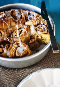 "Pumpkin Cinnamon Rolls from the ""Baked Elements"" cookbook"