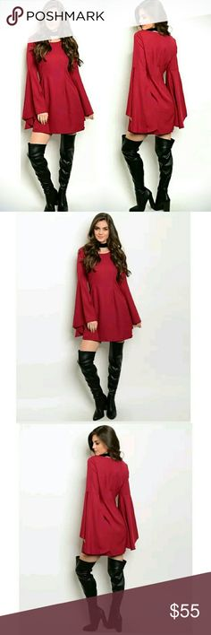 ⭐NEW! Hobo Baby Doll Bell Sleeve Mini Dress Gorgeous contemporary style & Perfect for the holidays! ☄❤☄  Stunning Red Wine  Princess Seam  Back Zipper Closure Loose Fit  Flared Bell Sleeve 98% Polyester 2% Spandex Super Comfy  Junior's Sizing  Sizes S-M-L   ▪ Price is Firm No Exceptions  ▪ No Trades  ▪ Fast Shipping Moda Ragazza  Dresses Mini