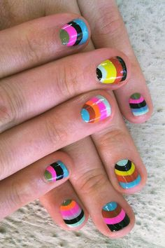 Little girls nails little girl nails, girls nails, multicolored nails, colo Great Nails, Love Nails, How To Do Nails, Little Girl Nails, Girls Nails, Fancy Nails, Diy Nails, Nail Art Designs, Multicolored Nails