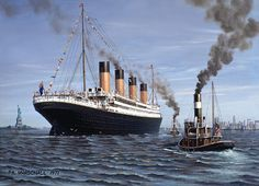 countrylivin22:  April 17th 1912, Titanic would have arrived today in New York harbor. Here is a painting of what it might have looked liked.