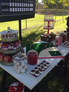 Irene R's Baseball Closing Ceremony / Indians Baseball Candy Buffet - Photo Gallery at Catch My Party Baseball Theme Birthday, Birthday Bbq, Baseball Party, Baseball Mom, 16th Birthday, Birthday Party Themes, Birthday Ideas, Candy Table, Candy Buffet