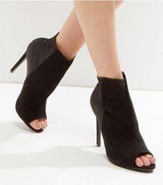 Black Suedette and Sateen Peep Toe Heels | New Look
