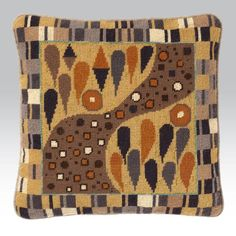 """Klimt Fawn - Ehrman Tapestry. By Candace Bahouth 14"""" x 14"""". 35 cm x 35 cm 10 holes to the inch Ehrman wools Included in the Kit The kits include a 100% cotton canvas printed in full colour, all the yarns required (100% pure new wool), a needle and an easy to follow guide to get you underway."""