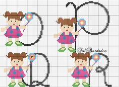 Bo a tarde Meninas!!!!!  Olhem só o que fiz essa tarde!!!! vejam voces que gracinh a.... Essa bo nequinha é a ca ra da minha filha....  Eu a... Cross Stitch Letters, Cross Stitch Baby, Alphabet And Numbers, Bargello, Plastic Canvas, Stitch Patterns, Little Girls, Diy And Crafts, Alice