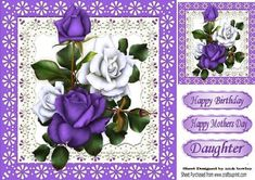 Pretty purple and white roses in lace frame 8x8 on Craftsuprint designed by Nick Bowley - Pretty purple and white roses in lace frame 8x8 with topper makes a pretty card, can be seen in other colours - Now available for download!