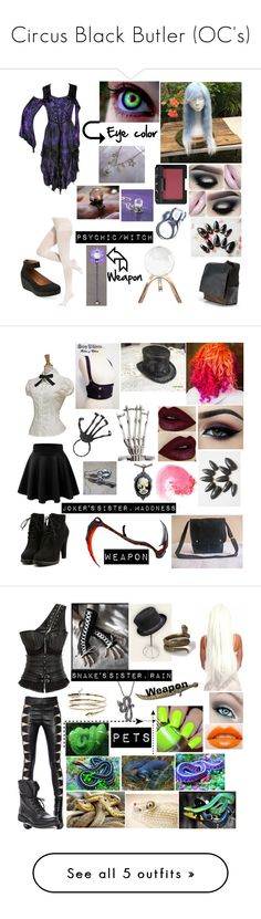 """Circus Black Butler (OC's)"" by cupcake125 ❤ liked on Polyvore featuring Clarks, DKNY, NARS Cosmetics, Global Views, Kill Star, Ardell, Retrò, Yves Saint Laurent, Steve Madden and Boohoo"