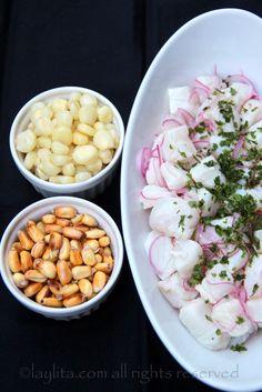 Peruvian fish cebiche or ceviche - Laylita's Recipes Clean Recipes, Raw Food Recipes, Fish Recipes, Seafood Recipes, Cooking Recipes, Healthy Recipes, Peruvian Dishes, Peruvian Recipes, Chilean Ceviche Recipe