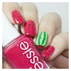 The easiest way to do it is by using nail art. When Summer comes, nail art is one thing that we can think of to add. Watermelon Nail Art, Fruit Nail Art, Watermelon Nail Designs, Easy Nail Art, Cool Nail Art, Diy Nails, Cute Nails, Trendy Nails, Tattoo Papier