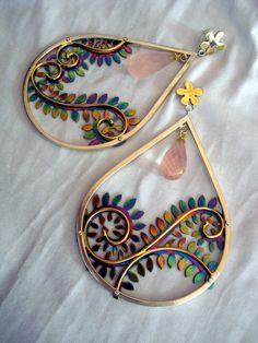 gold filigree earrings titanium18k solid by FlaviaFerrariJewelry, $750.00