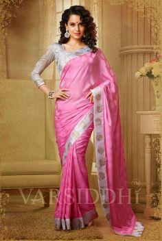 Kangana Ranaut Printed Light Pink Colour Georgette Saree  510