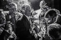 Candid Photojournalism Candid Groom Cigar Shot with Groomsmen