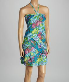 Love this Blue & Yellow Floral Ya-Ya Halter Dress - Women on #zulily! #zulilyfinds