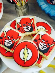 Flash cookies at a superhero birthday party! See more party planning ideas at CatchMyParty.com!