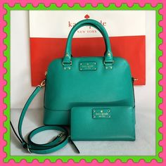 "Authentic Kate Spade Leather Handbag & Wallet % AUTHENTIC ✨ Gorgeous leather handbag and the matching zippy wallet from Kate Spade  Color: Turquoise  Bag measurements: Length 12"" Height 9 1/2"" Width 5"" w/ adjustable & detachable long strap 3 pockets inside. Very versatile, crossbody, top handle & shoulder bag. Zippy Wallet measurements: Length 7 3/4"" Height 4"" Very spacious. Lots of compartments for your cards and cash. NO TRADE  kate spade Bags Satchels"