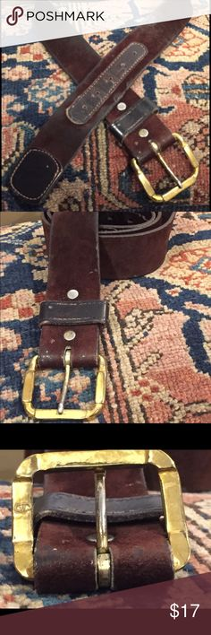 ** SALE ** Brown suede and leather belt Great vintage style. Brown suede and leather belt with gold buckle. Well worn boho style. See picture for underside of buckle.   Looks great low in hips over full or straight skirts Unisex size 34. Accessories Belts