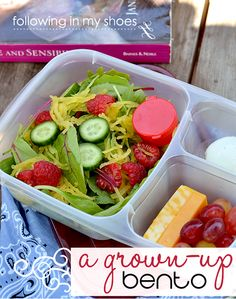 Grown up bento box ideas that work great for anyone who keeps an eye on nutrition. Meal is made before grand kids arrive. One less distraction from fun AND grandma eats from a box, too!  Clean up is minimal.