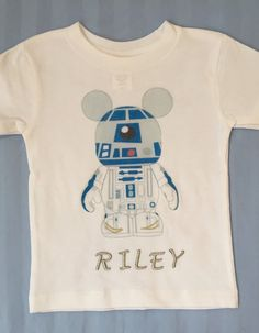 Personalized Star Wars R2-D2 with Mickey ears!  T-shirt or Onesie