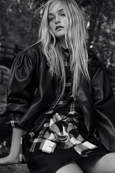 Jean Campbell models Zara Faux Leather Jacket, Shiny Checked Shirt and Faux Leather Mini Skirt