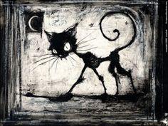 Creepy Cat & Moon