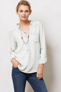 Laced Chambray Popover - anthropologie.com