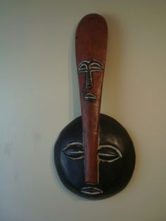 """ARTFINDER: ZIMBABWE II by S. Theodore Lymon - A hand carved, hand painted, wooden African art work. This is a sculptural abstract """"portrait"""". It is similar to the  African masks I created. It was also in..."""