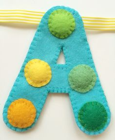 'A' of spotty 'Happy Birthday' hand sewn banner