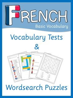 French vocabulary tests and word search puzzles for your French lessons. This set contains more than 200 pages of French basic vocabulary tests and word search French Teacher, Teaching French, French Body Parts, French Numbers, French For Beginners, French Worksheets, Word Search Puzzles, Word Puzzles, Core French