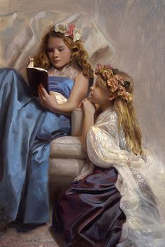 """Eva and Rachel"" oil painting portrait by Karen Whitworth. Two girls reading a book in pretty dresses and flowers in their hair. Painted with Gamblin Artist Colors and Rosemary & Co Artist Brushes on Ampersand Cradled Gessobord Girl Reading Book, Reading Art, Woman Reading, Kids Reading, Two Girls, Illustrations, The Girl Who, Pretty Flowers, Books To Read"