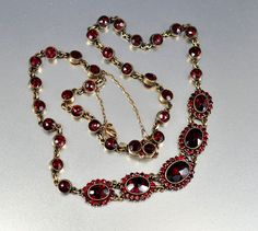 Antique Garnet Necklace Edwardian Czech Necklace Victorian Jewelry Gold Antique Jewelry Downton Abbey Bohemian Garnet