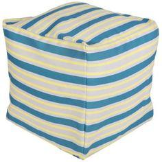 Surya Nautical Stripe Peacock Blue Square Pouf Ottoman -