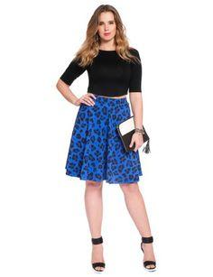 Cheetah Flare Ponte Skirt Blue Cheetah