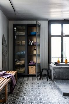 More of the industrial style bathroom. I am experiencing unseemly urges to own one just like it.