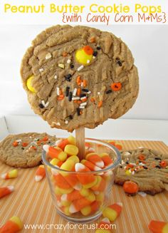 Peanut Butter Cookie Pops with Candy Corn M & M's Recipe ~ fast, easy, and delicious Halloween Treat!