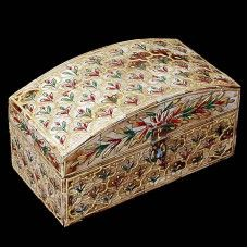 This Wooden box is made of wooden with bone fitting. It is well embossed hand painting. You can use it as your requirements. Design of flower and leafs has made on the top of box. This box will attract attention of your guests.Note: This is Handcraft Item so each item will be different than other due to limitation of photography.