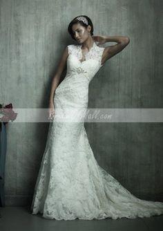 bridalofmall.com Offers High Quality V-neck Sleeveless Chapel Train Sheath Vintage Lace Wedding Dresses Back Keyhole,Priced At Only US$285.00 (Free Shipping)