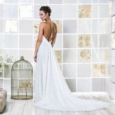 Gio Rodrigues Serena Wedding Dress  sensual wedding dress lace geometric draped spaghetti straps engaged inspiration unique gorgeous elegant bride