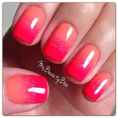Sunset Ombre Gradient Nails. Colors used: Gelish - Sweet Morning Dew, Shake it til you Samba, & Vegas Nights. #JennyAtImagine #summermani