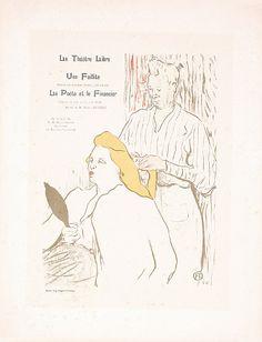 Original 1890s TOULOUSE-LAUTREC Theatre Libre Print  Description: Toulouse-Lautrec, Henri de 1864 - 1901. Le Theatre Libre. Lithograph ca. 1898 . Size: 12.5 x 9.8 in. (32 x 25 cm) . Printer: Eugene Verneau, Paris .