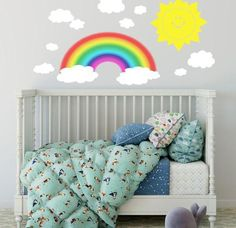 """Baby Room Ideas ~Make it a rainbow sun shinny day in any room with a smiley sun wall decal withfluffy white cloud wall decals to create the prefect happy sky. Just peel and stick anywhere you want, re-positionable so if you make a mistake it is easy to fix. Removable without damaging walls. Rainbow 3' x 18"""", 12"""" Sun Decal,Assorted si"""